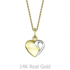 Pendant and Necklace in Yellow and White Gold - Enjoined Heart