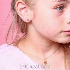 Pendant and Necklace in Yellow Gold - Heart of Love
