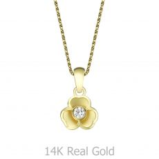 Pendant and Necklace in Yellow Gold - Golden Flower