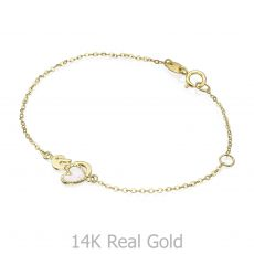 14K Gold Girls' Bracelet - Swan Heart