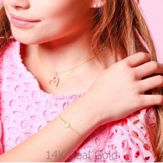 14K Gold Girls' Bracelet - Swan Heart