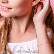 14K Gold Girls' Bracelet - Mother-of-Pearl Stars