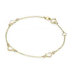 14K Gold Girls' Bracelet - Mother-of-Pearl Hearts
