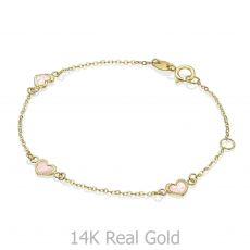 14K Gold Girls' Bracelet - Mother-of-Pearl Hearts: Pink