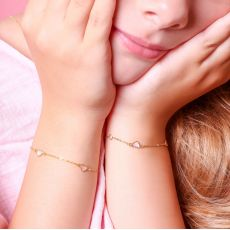 14K Gold Girls' Bracelet - Mother-of-Pearl Hearts: Pink