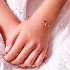 14K Gold Girls' Bracelet - Shining Star