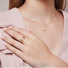 Open Ring in 14K Yellow Gold - Hexagons