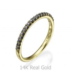 Black Diamond Band Ring in 14K Yellow Gold - Princess