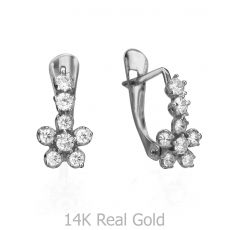 Drop White Gold Earrings - Delicate Flower