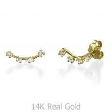 14K Yellow Gold Women's Earrings - Crystal Spotlights
