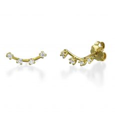 Stud Earring in Yellow Gold - Crystal Spotlights