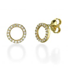 Stud Earring in Yellow Gold - Circles of Joy