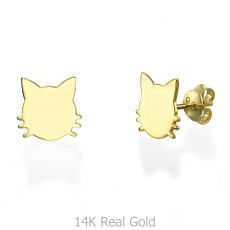 14K Yellow Gold Women's Earrings - Whiskered Cat