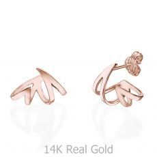 Stud Earrings in 14K Rose Gold - Flame & Fire