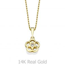 Gold Pendant - Flower of Stachys