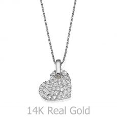 Pendant in White Gold - Sparkling Heart