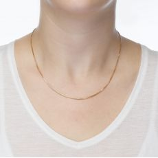 """14K Yellow Gold Spiga Chain Necklace 1mm Thick, 17.7"""" Length"""