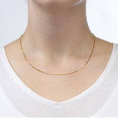 "14K Yellow Gold Venice Chain Necklace 0.8mm Thick, 16.5"" Length"