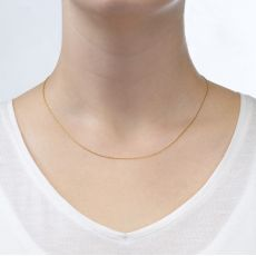 """14K Yellow Gold Twisted Venice Chain Necklace 0.6mm Thick, 17.7"""" Length"""