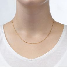 "14K Yellow Gold Twisted Venice Chain Necklace 1mm Thick, 16.5"" Length"