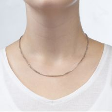 """14K White Gold Spiga Chain Necklace 1.5mm Thick, 17.7"""" Length"""