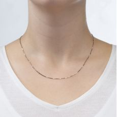 """14K White Gold Venice Chain Necklace 0.8mm Thick, 17.7"""" Length"""