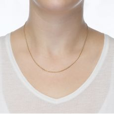 "14K Yellow Gold Rope Chain Necklace 1mm Thick, 17.7"" Length"