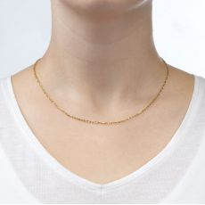 "14K Yellow Gold Rollo Chain Necklace 1.6mm Thick, 16.5"" Length"