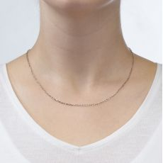 "14K White Gold Rollo Chain Necklace 1.6mm Thick, 17.7"" Length"