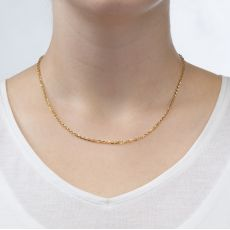 "14K Yellow Gold Rollo Chain Necklace 2.2mm Thick, 17.7"" Length"
