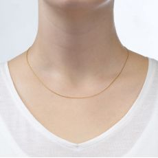 "14K Rose Gold Twisted Venice Chain Necklace 0.6mm Thick, 15"" Length"