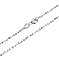 "14K White Gold Chain for Men Balls 1.8mm Thick, 19.7"" Length"