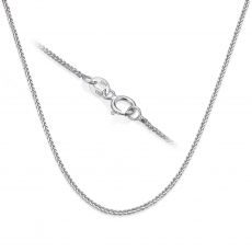 "14K White Gold Spiga Chain Necklace 0.8mm Thick, 16.5"" Length"