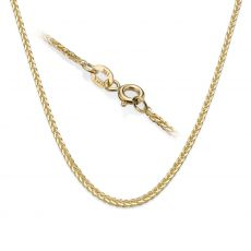 "14K Yellow Gold Spiga Chain Necklace 1mm Thick, 17.7"" Length"