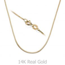"14K Yellow Gold Venice Chain Necklace 0.8mm Thick, 17.7"" Length"