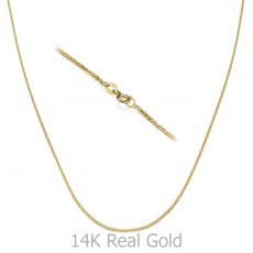 "14K White & Yellow Gold Spiga Chain Necklace 1mm Thick, 17.7"" Length"