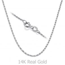 "14K White Gold Twisted Venice Chain Necklace 1mm Thick, 16.5"" Length"