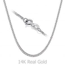 "14K White Gold Spiga Chain Necklace 1mm Thick, 17.7"" Length"