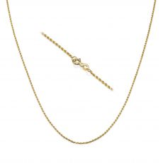 "14K Yellow Gold Rope Chain Necklace 1.4mm Thick, 17.7"" Length"