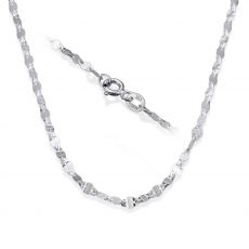 """14K White Gold Forzata Chain Necklace 2.4mm Thick, 17.7"""" Length"""