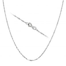 "14K White Gold Singapore Chain Necklace 1.2mm Thick, 17.7"" Length"
