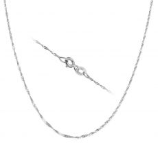 "14K White Gold Singapore Chain Necklace 1.6mm Thick, 19.7"" Length"