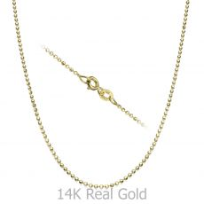 "14K Yellow Gold Balls Chain Necklace 1.4mm Thick, 17.7"" Length"