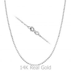 "14K White Gold Balls Chain Necklace 1.4mm Thick, 17.7"" Length"