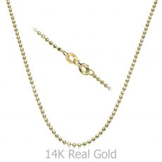 "14K Yellow Gold Balls Chain Necklace 1.8mm Thick, 21.6"" Length"
