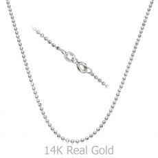 "14K White Gold Balls Chain Necklace 1.8mm Thick, 21.6"" Length"