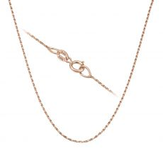 """14K Rose Gold Twisted Venice Chain Necklace 0.6mm Thick, 17.7"""" Length"""
