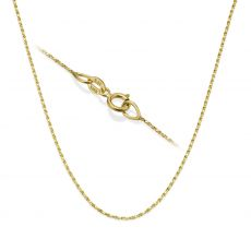 "14K Yellow Gold Twisted Venice Chain Necklace 0.6mm Thick, 15"" Length"