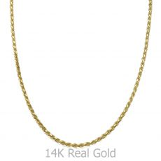 "14K Yellow Gold Chain for Men Rope 1.9mm Thick, 19.7"" Length"