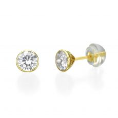 14K Yellow Gold Kid's Stud Earrings - Circle of Monica